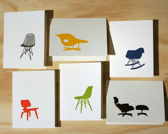 SALE 20% off - Eames Chair Letterpress Cards - Set of 6