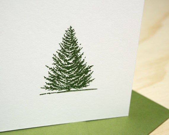 Evergreen Letterpress Christmas Holiday Cards - Set of 6