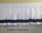 Nautical valance - white with navy banding