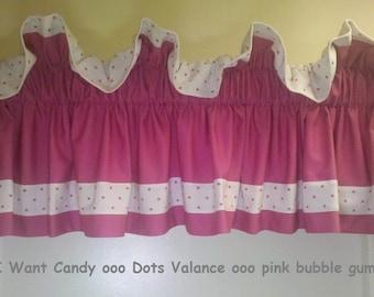 Dots valance - pink bubble gum