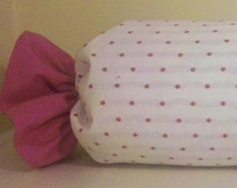 Pink polkadot bolster/ neckroll. I Want Candy-Tootsies-Pink bubble gum-Bolster
