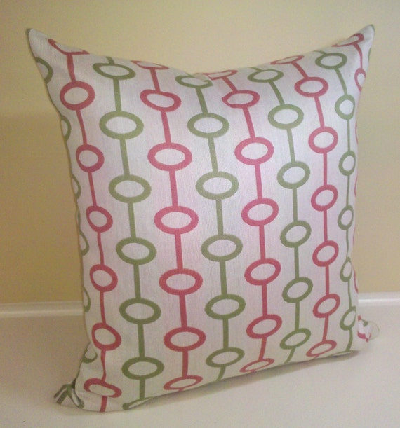 """Loops 18"""" Pillow cover - Pink and green rings on offwhite background"""