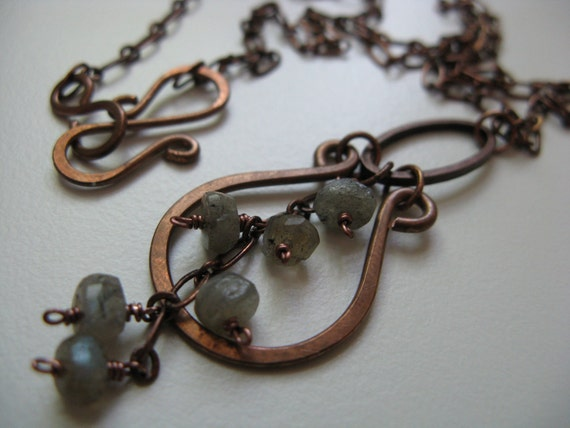Impermanence - antiqued copper, copper hoops, copper flourish, and opal blue gray faceted labradorite rondelle necklace
