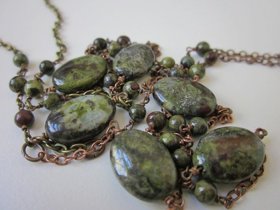 Wyvern - blood red & jade green dragon's blood jasper gemstone and antiqued copper and brass mixed chain extra long necklace