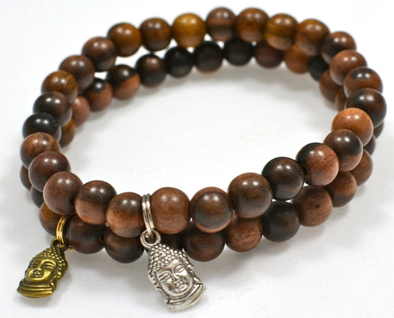 Men's Beaded Bracelet with Dark Brown Tiger Kamagong Wood Beads and Vintage Silver Buddha Head