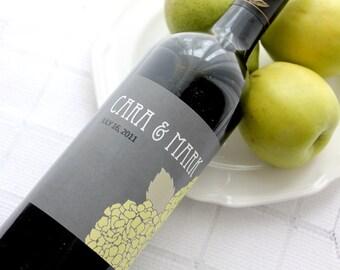 Bold Hydrangea Custom Wine Bottle Labels