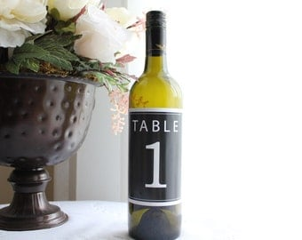 Classic Table Numbers 1 - 20 Wine Bottle Labels - Printable PDF