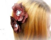 Hand made flower hair clips.