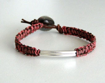 Macrame Friendship Bracelet in Coral and Brown with Silver Tubes - Wai Bracelet