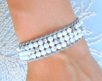 Beaded Leather Cuff with Grey Leather, White Howlite Beads and Silver Glass Beads