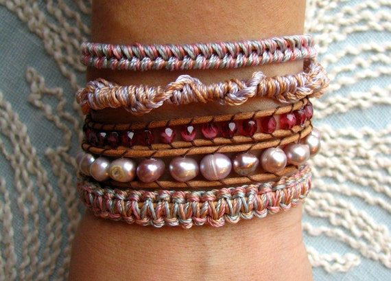 Shades of Pastels - Macrame and Beaded Leather Wrap Bracelet With Freshwater Pearls and Gold Button Clasp
