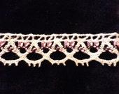 Vintage Ecru Cotton Lace Pink Black Threading, Vintage Country Lace, Vintage Crochet Lace, Vintage Sewing Supplies, Vintage Craft Supplies