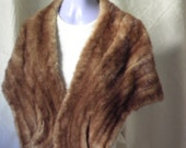 REDUCED Vintage Brown Mink Stole Fur Small