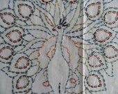 Embroidered Peacock Table Cover Pillow Cover Vintage, Vintage Linens, Vintage Embroidery, Vintage Peacock