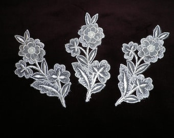 Three Large Lace Flower Appliqués, Vintage Lace, Craft Supplies, Vintage Sewing Supplies, Lace Medallions, Wedding Lace