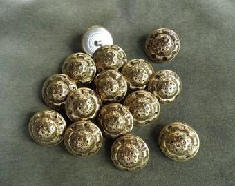 Vintage Gold Metal Buttons, Vintage Sewing Supplies, Vintage Unique Gold Toned Buttons