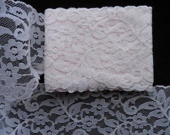 Vintage Wide Pastel Pink Nylon Lingerie Lace, Vintage Sewing Supplies, Vintage Craft Supplies