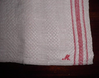 Antique Red Striped Linen Homespun Towel, Vintage Table Cover, Vintage Textiles, Vintage Fabric