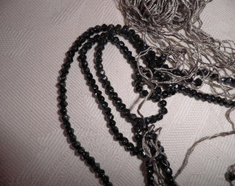 Black Crocheted Beads on Thread Vintage, Vintage Mourning Beads