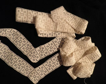 Vintage Cotton Crocheted Lace Curtain Trim, Vintage Crochet Lace Edging, Vintage Country Lace, Craft Supplies