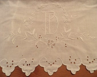 D Monogrammed White Cotton Pillow Cover Vintage< Vintage Lace, Vintage Embroidery, Vintage Linens, Monogrammed Pillow Cover