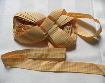 Vintage Yellow White Cotton Gingham Folded Fabric Edging Bias Tape