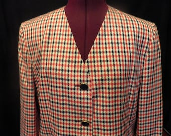 Pendleton Red White Blue Checked Suit Vintage Size 14 16 Petite, Vintage Women's Suit, Vintage Pendleton, Checkered Suit, 3 Piece Suit