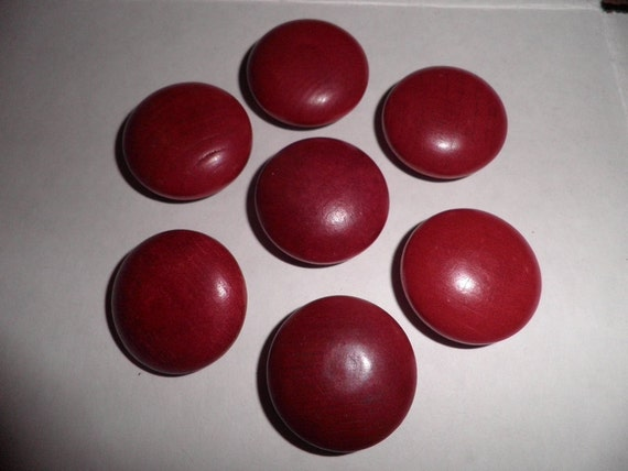 Large Red Wooden Buttons  Vintage