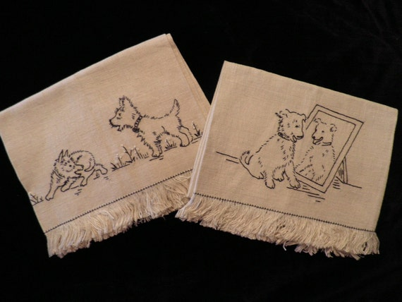 Vintage Embroidered Linen Hand Towels Cute Puppy Dogs