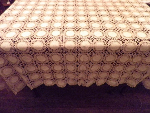 Large Linen and Crocheted Table Cloth or Bedspread Vintage