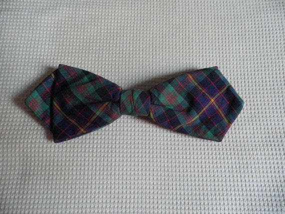 Blue Green Plaid Clip On Bow Tie Vintage