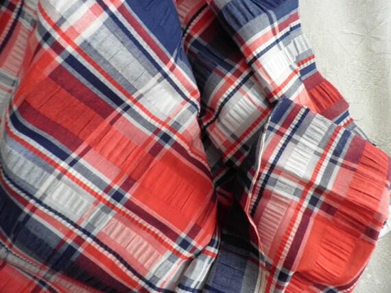 Cotton Seersucker Red White and Blue Plaid