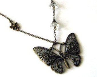 Butterfly necklace Czech transparent flowers jewelry bronze butterfly clear glass flowers
