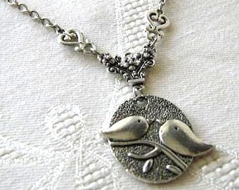 Love birds necklace jewelry simple bird necklace antiqued silver