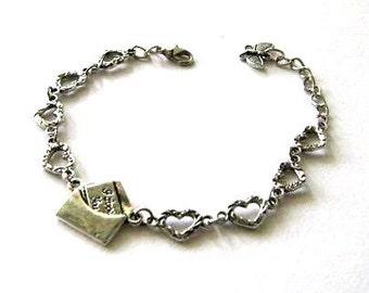 I Love You bracelet envelope letter note antiqued silver heart bracelet jewelry