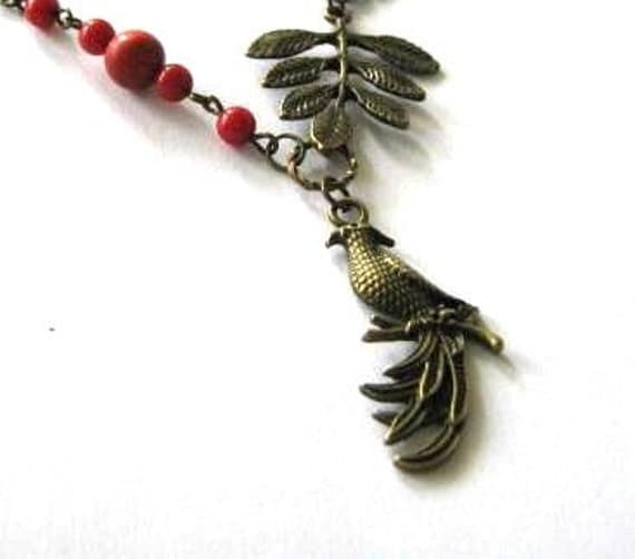 Red coral necklace bird and leaf jewelry antique brass bronze phoenix necklace vintage style