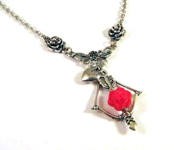 Silver bow and arrow pendant necklace jewelry red rose necklace red flower resin flower jewelry bow and arrow necklace