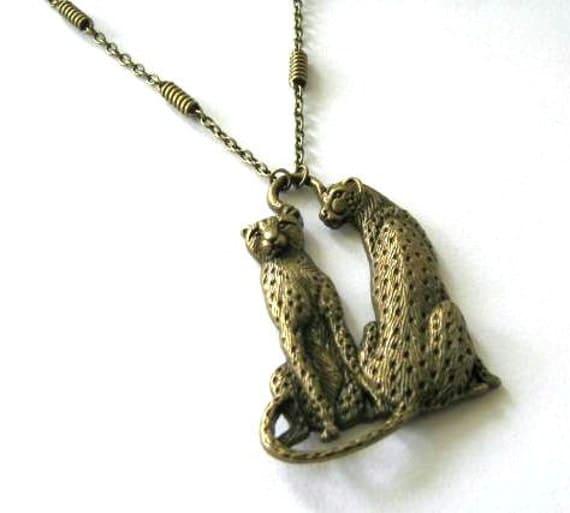 Leopard pendant necklace cheetah long chain simple necklace antique brass bronze leopard couple necklace