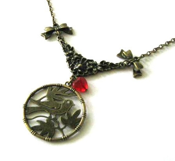 Bird necklace red heart jewelry bow antique brass bronze flower necklace vintage inspired