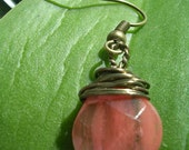 Handmade Pink Wire Wrapped Earrings