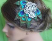 Peacock Hair Clip. Stunning-Exquisite Peacock Feather Hair Clip.Bride-bridesmaids fascinator Hair Clip. Bridal, Wedding, Bridesmaids -KISHA