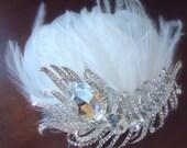 Bridal Headpiece, Wedding hair piece, peacock crystal haeadp piece, bridal heaclip, bridal hairdresser, Wedding - PEACOCK CRYSTALS mdw-0018
