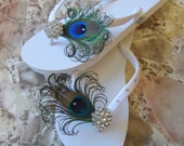 White Peacock Flip flops with Swarovki Crystals. Bridesmaid Bridal Party, made in your wedding colors -TROPICAL WEDDING Collection-