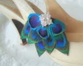 Peacock Shoe Clips. Stunning, Bridal, Wedding, Bridesmaids. Exquisite Original Design -  Style 101