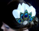 Peacock Hair Clip. White feathers adorned with Peacock Feathers. Stunning , Bridal, Wedding, Bridesmaids.  - Styly 003