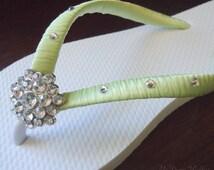 Green Flip Flops. Swarovski Crystals bride flip flops. Wedding Party - Other Green shades available.-BELLA Design-
