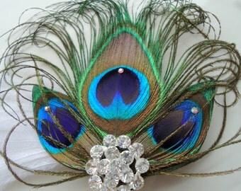 Peacock Headpiece. Peacock hair clip with SWAROVSKI Crystals  and AB Rhinestone center -EMILY-