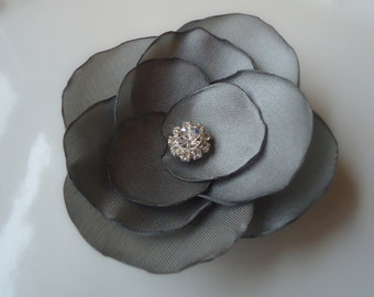 Gray Hair Clip. Dreamy gray flower Petals hairclip for your Flower Girls -DAPHNE'S COLLECTION-