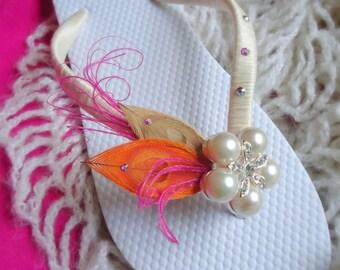 Hot Pink - Orange Flip Flops.  Ivory, Pink,Orange Peacock Feathers Flip Flops w/ SWAROVSKI Crystals.-MUST HAVE Collection. Hot Pink-Orange-