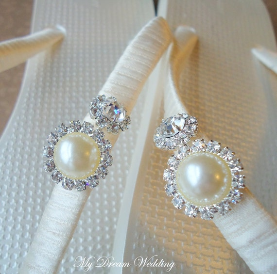 Ivory Flip Flops. Metallic Pearl flip flops with pearl and Crystal AB rhinestones. -MAGNIFICENT METALIC - Ivory-